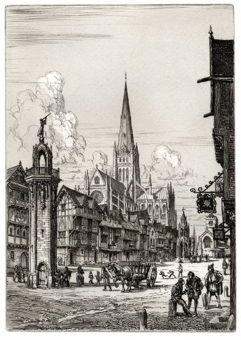 OLD ST PAULS CATHEDRAL LONDON. ORIGINAL ETCHING by CYRIL H BARRAUD