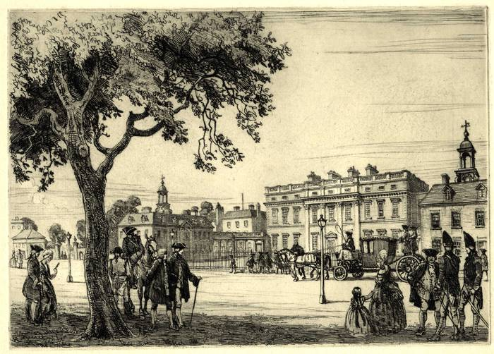 BUCKINGHAM PALACE, GEORGE III. ORIGINAL ETCHING by CYRIL H BARRAUD