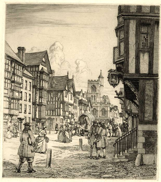 FLEET ST, CHANCERY LANE & ST DUNSTANS. ORIGINAL ETCHING by CYRIL H BARRAUD