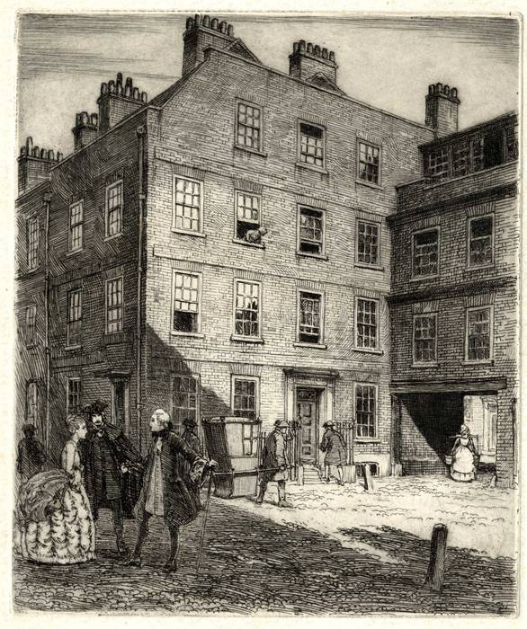 DR JOHNSON'S HOUSE, LONDON. ORIGINAL ETCHING by CYRIL H BARRAUD