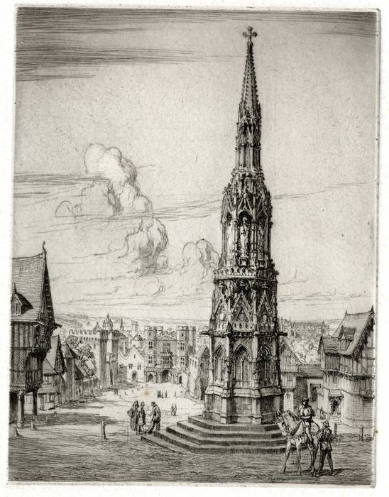 CHARING CROSS, ELEANOR CROSS, LONDON. ORIGINAL ETCHING by CYRIL H BARRAUD