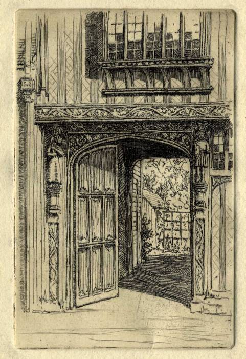 TUDOR GATEWAY. ORIGINAL ETCHING by CYRIL H BARRAUD