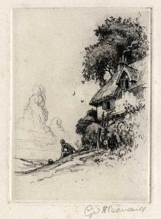 THATCHED COTTAGE & FIGURE. ORIGINAL ETCHING by CYRIL H BARRAUD