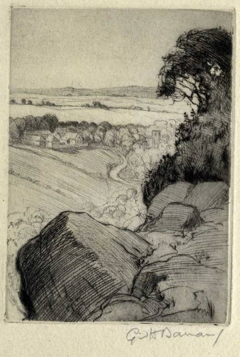 LANDSCAPE WITH VILLAGE BELOW. ORIGINAL ETCHING by CYRIL H BARRAUD