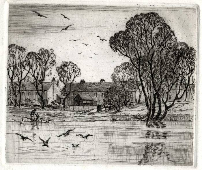 RIVER & HOUSES. ORIGINAL ETCHING by CYRIL H BARRAUD