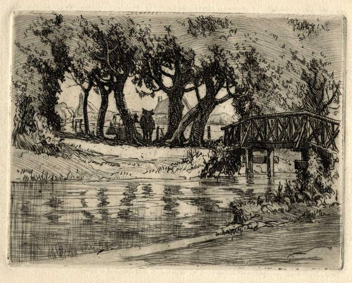 BRIDGE NEAR COGGESHALL. ORIGINAL ETCHING by CYRIL H BARRAUD