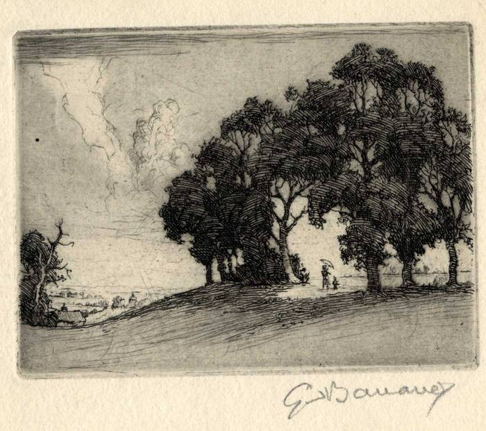 LANDSCAPE. ORIGINAL ETCHING by CYRIL H BARRAUD