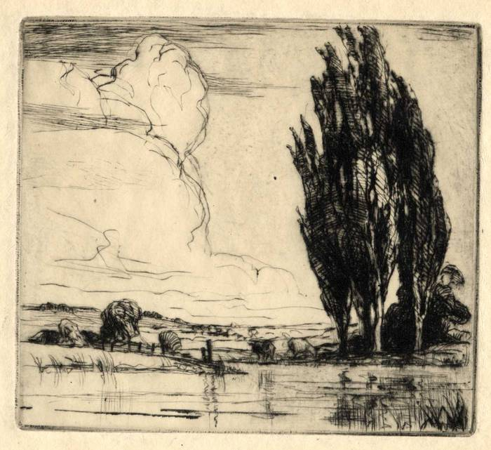 RIVER LANDSCAPE, 1912. ORIGINAL ETCHING by CYRIL H BARRAUD