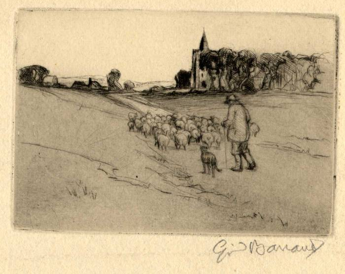 SHEPHERD & SHEEP IN LANDSCAPE, 1912. ORIGINAL ETCHING by CYRIL H BARRAUD