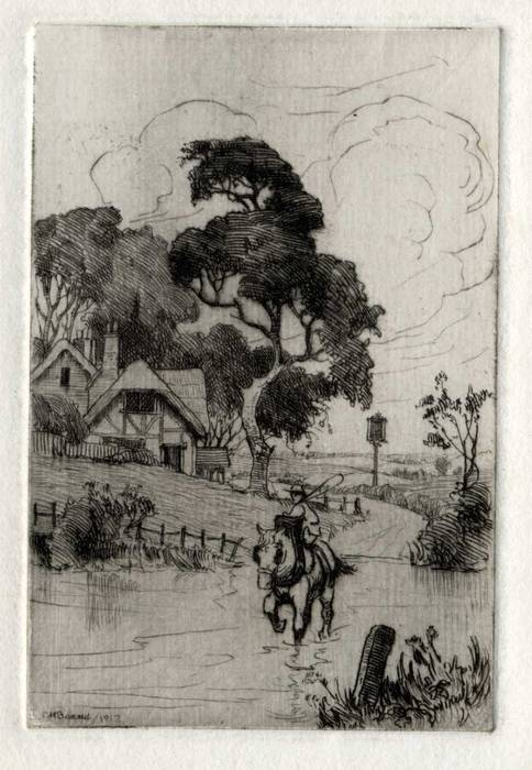 HORSE RIDER & FORD, 1913. ORIGINAL ETCHING by CYRIL H BARRAUD