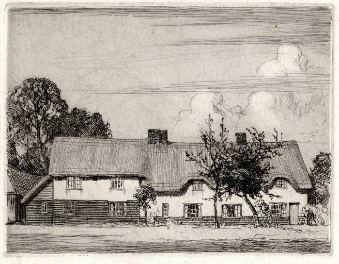 ORCHARD COTTAGE, WOOD END, STEVENAGE. ORIGINAL ETCHING by CYRIL H BARRAUD