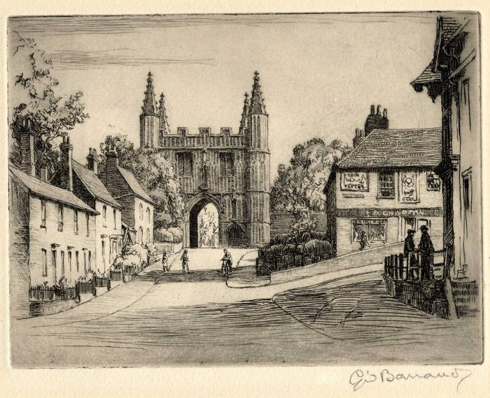 ST JOHNS, ABBEY GATE, COLCHESTER. ORIGINAL ETCHING by CYRIL H BARRAUD