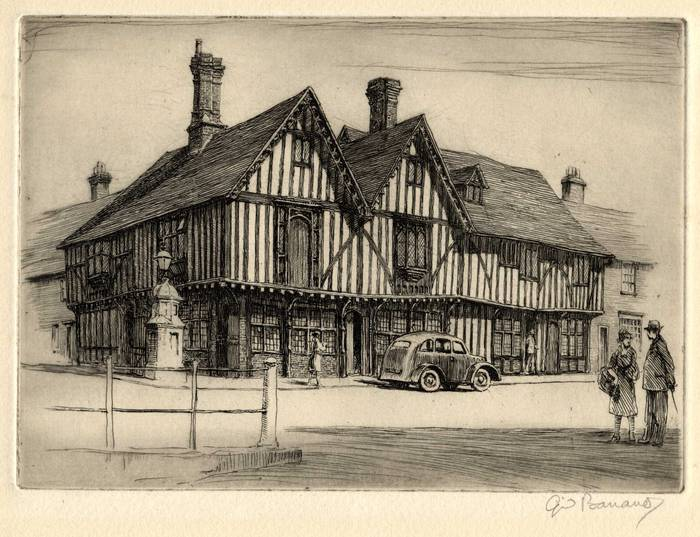 LLOYDS BANK - LOCATION UNKNOWN 1930s? ORIGINAL ETCHING by CYRIL H BARRAUD