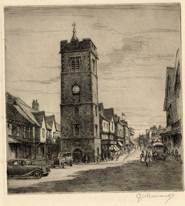 ST ALBANS, MEDIEVAL CLOCK TOWER. ORIGINAL ETCHING by CYRIL H BARRAUD