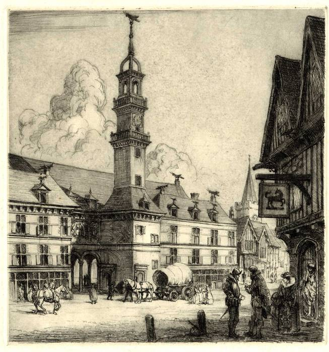 LONDON STREET SCENE 16th CENTURY. ORIGINAL ETCHING by CYRIL H BARRAUD