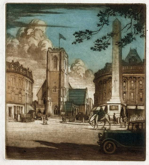 LONDON CHURCH & MEMORIAL - LOCATION? ORIGINAL ETCHING by CYRIL H BARRAUD