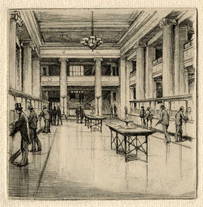 LLOYDS BANK INTERIOR - LONDON?ORIGINAL ETCHING by CYRIL H BARRAUD