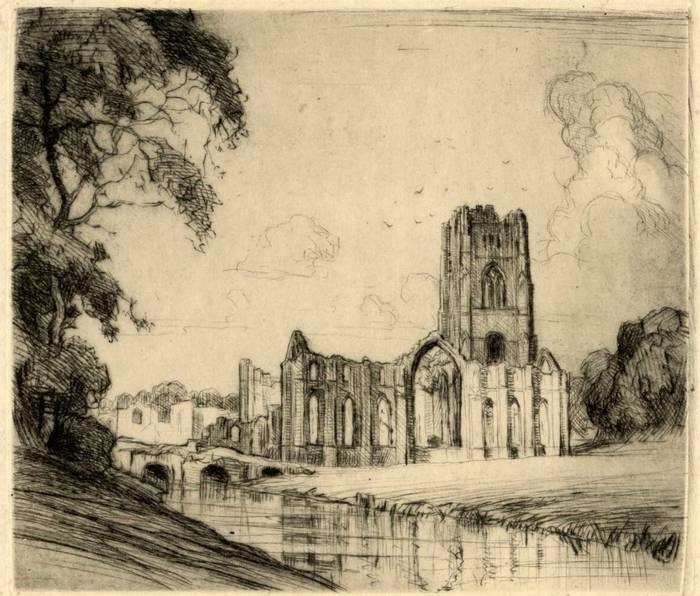 FOUNTAINS ABBEY, YORKSHIRE. ORIGINAL ETCHING by CYRIL H BARRAUD