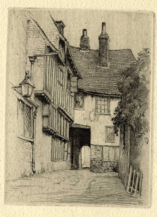 MERMAID INN, RYE, KENT. ORIGINAL ETCHING by CYRIL H BARRAUD