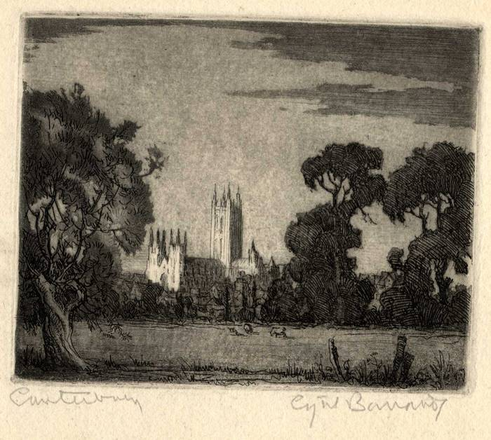 CANTERBURY, KENT. ORIGINAL ETCHING by CYRIL H BARRAUD