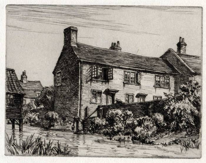 NAISH'S YARD TROWBRIDGE, PITMANS BIRTHPLACE. ORIGINAL ETCHING by CYRIL H BARRAUD