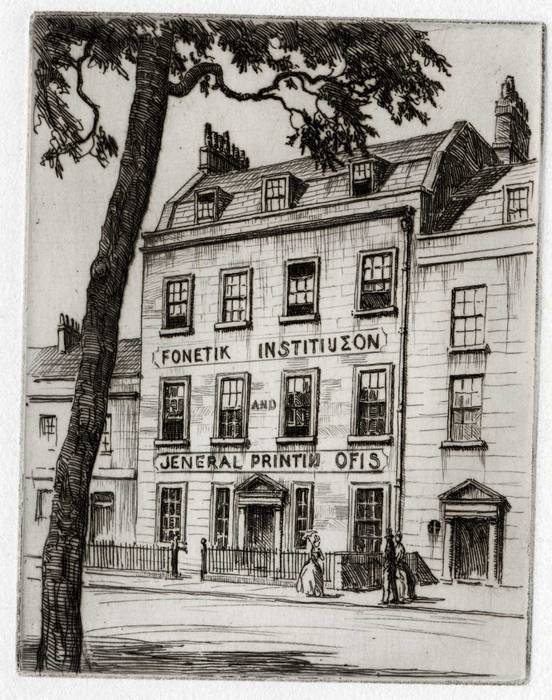 BATH, ALBION PLACE. PITMANS INSTITUTE. ORIGINAL ETCHING by CYRIL H BARRAUD