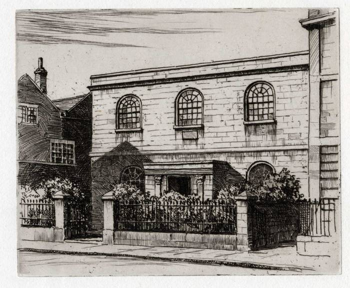 ZION BAPTIST CHURCH, TROWBRIDGE. ORIGINAL ETCHING by CYRIL H BARRAUD
