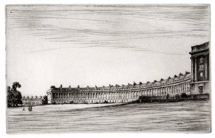 ROYAL CRESCENT, BATH. ORIGINAL ETCHING by CYRIL H BARRAUD