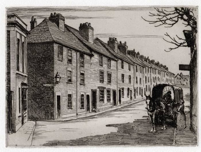 TIMBRELL STREET, TROWBRIDGE. ORIGINAL ETCHING by CYRIL H BARRAUD