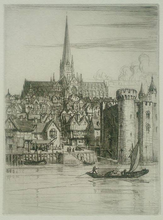 OLD ST PAULS CHURCH FROM THAMES. ORIGINAL ETCHING by CYRIL H BARRAUD