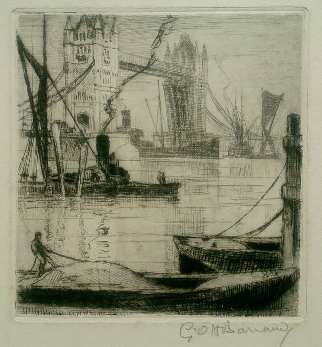 TOWER BRIDGE, SIDE VIEW & POOL OF LONDON. ORIGINAL ETCHING by CYRIL H BARRAUD