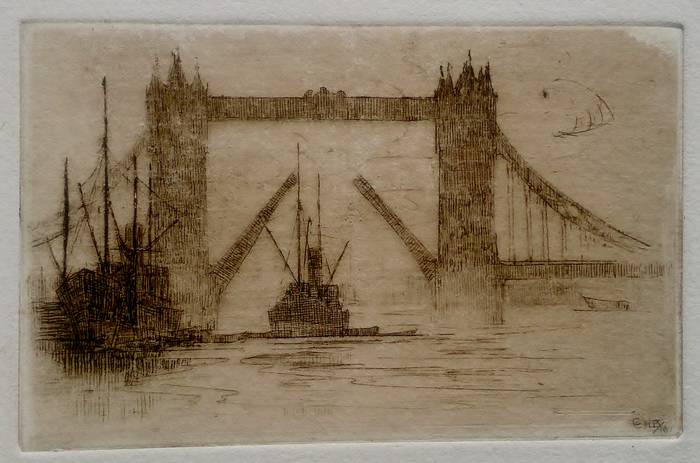 TOWER BRIDGE (OPEN). ORIGINAL ETCHING by CYRIL H BARRAUD