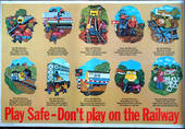 ORIGINAL BR ART POSTER DONT PLAY ON THE RAILWAY 10 BOYS