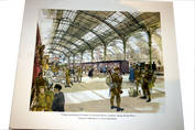 Troops for France, Victoria Station, World War 1. Whitbread print, David Knight