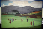 ORIGINAL ARTWORK OIL ON CANVAS LMS GOLF, GLENEAGLES Norman Wilkinson Poster.