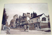 KING'S HEAD, CHIGWELL, ESSEX. Sepia monotone & Ink on board by Jack Merriott
