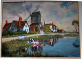 WINDMILL & COWS (Location unknown).. Fine Watercolour by EDWARD WALKER