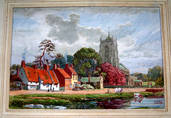 CHURCH, COTTAGES & COWS (Location unknown). Watercolour by EDWARD WALKER