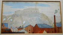 NOTTINGHAM CASTLE. Original LMS Poster artwork 1924 by JOHN ALFRED ARNESBY BROWN