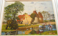 OAST HOUSES, KENT. Fine Watercolour by EDWARD WALKER