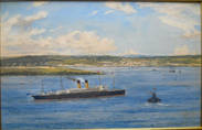 WHITE STAR LINER CELTIC NR PLYMOUTH. Watercolour by NORMAN WILKINSON  R.I.