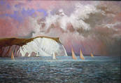 SAILING OFF THE ISLE OF WIGHT. Oil on canvas by NORMAN WILKINSON R.I.