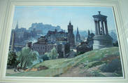 EDINBURGH FROM CALTON HILL Watercolour by LEONARD RUSSELL SQUIRRELL