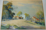 A ROAD IN THE FENS. An original watercolour by FRANK SHERWIN R.I.