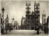 WESTMINSTER ABBEY, LONDON. ORIGINAL ETCHING by CYRIL H BARRAUD