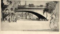 EMBANKMENT, LONDON. ORIGINAL ETCHING  by CYRIL H BARRAUD
