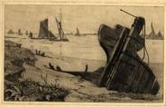 BOATS AND WRECK OFF ERITH. ORIGINAL ETCHING  by CYRIL H BARRAUD