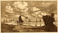 BOATS OFF ERITH, KENT. SEPIA ORIGINAL ETCHING  by CYRIL H BARRAUD