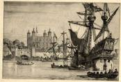 TOWER OF LONDON [STUART PERIOD] ORIGINAL ETCHING by CYRIL H BARRAUD