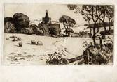 ESSEX LANDSCAPE WITH CHURCH, 1912. ORIGINAL ETCHING by CYRIL H BARRAUD